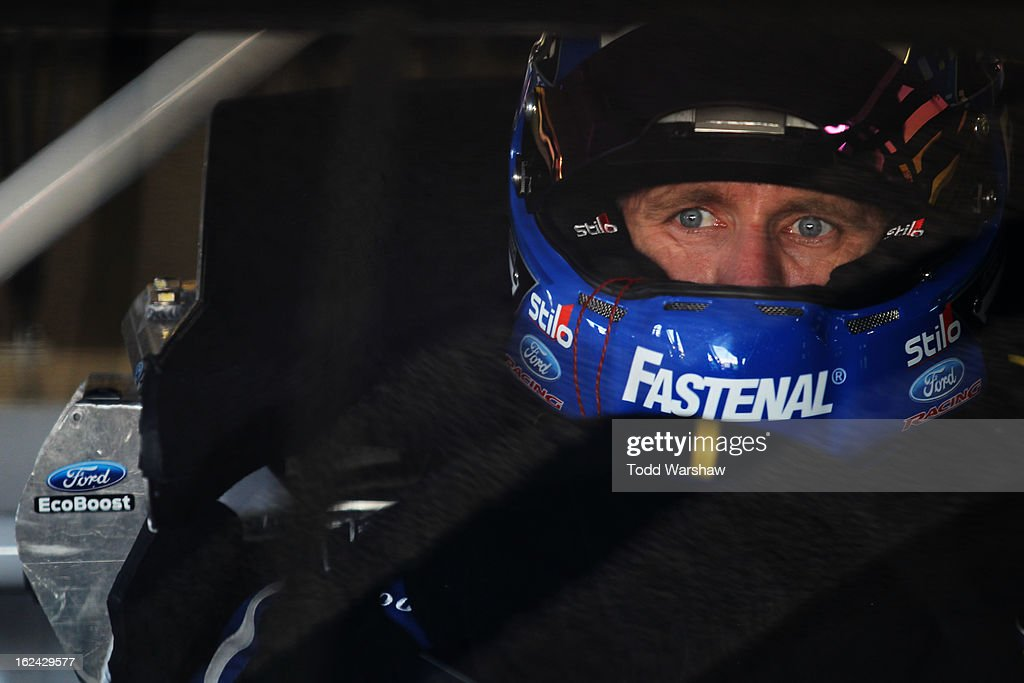 <a gi-track='captionPersonalityLinkClicked' href=/galleries/search?phrase=Carl+Edwards&family=editorial&specificpeople=193803 ng-click='$event.stopPropagation()'>Carl Edwards</a>, driver of the #99 Fastenal Ford, looks on during practice for the NASCAR Sprint Cup Series Daytona 500 at Daytona International Speedway on February 23, 2013 in Daytona Beach, Florida.