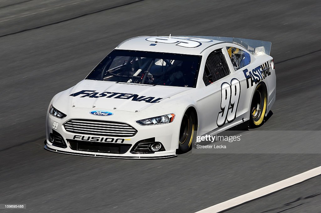 Carl Edwards, driver of the #99 Fastenal, in action during NASCAR Testing at Charlotte Motor Speedway on January 18, 2013 in Charlotte, North Carolina.