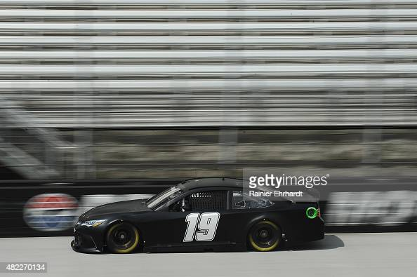 Carl Edwards driver of the Joe Gibbs Racing Toyota runs laps during NASCAR Sprint Cup Series testing at Bristol Motor Speedway on July 29 2015 in...