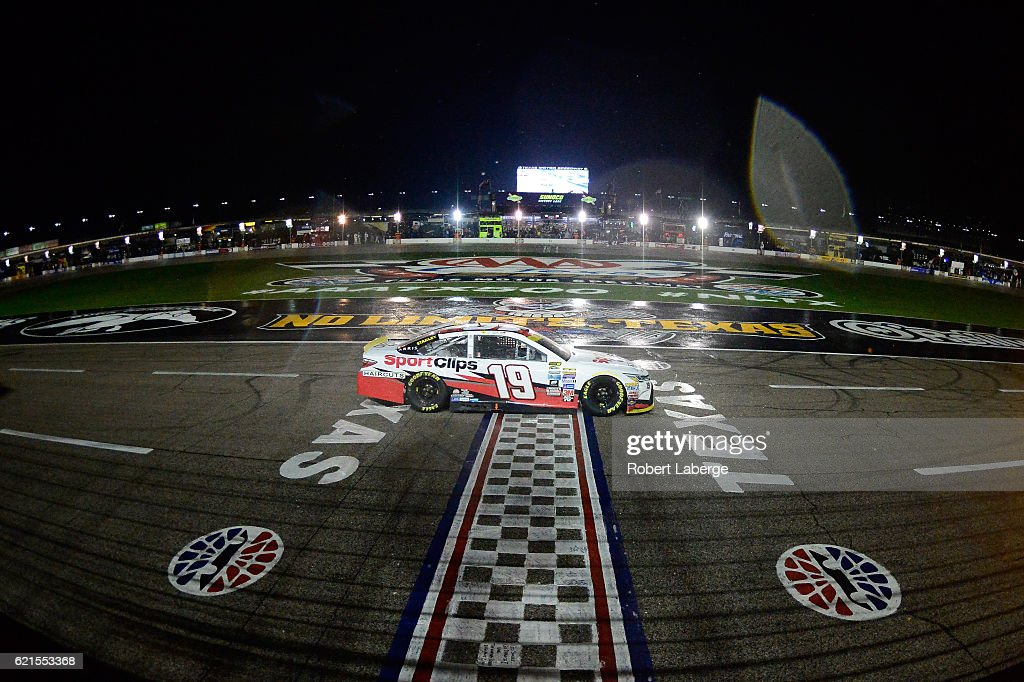 Carl Edwards, driver of the #19 Sport Clips Toyota, races under caution during the NASCAR Sprint Cup Series AAA Texas 500 at Texas Motor Speedway on November 6, 2016 in Fort Worth, Texas.