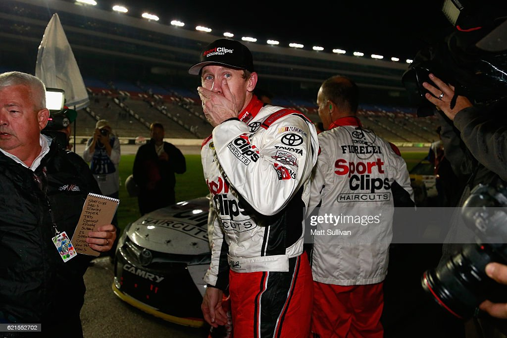 Carl Edwards, driver of the #19 Sport Clips Toyota, reacts to winning the rain-shortened NASCAR Sprint Cup Series AAA Texas 500 at Texas Motor Speedway on November 6, 2016 in Fort Worth, Texas.
