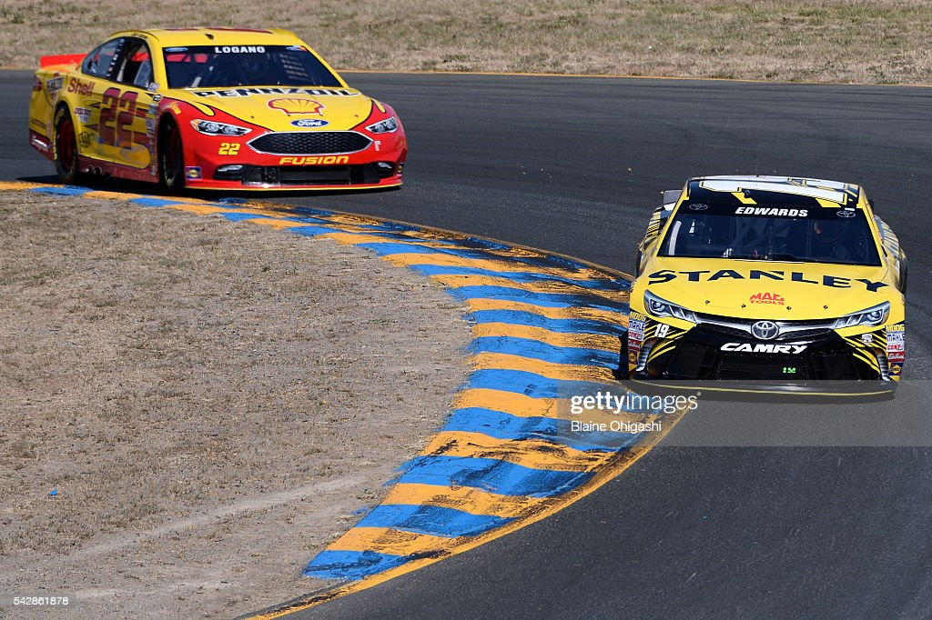 Carl Edwards, driver of the #19 Stanley Toyota, and Joey Logano, driver of the #22 Shell Pennzoil Ford, drive during practice for the NASCAR Sprint Cup Series Toyota/Save Mart 350 at Sonoma Raceway on June 24, 2016 in Sonoma, California.