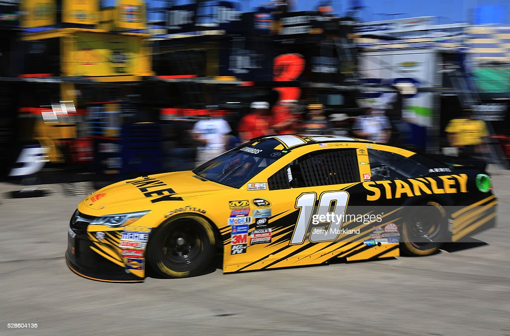 Carl Edwards, driver of the #19 Stanley Toyota, drives during practice for the NASCAR Sprint Cup Series Go Bowling 400 at Kansas Speedway on May 6, 2016 in Kansas City, Kansas.