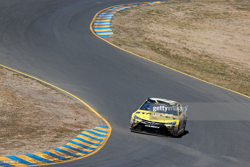 <a gi-track='captionPersonalityLinkClicked' href=/galleries/search?phrase=Carl+Edwards+-+Racecar+Driver&family=editorial&specificpeople=193803 ng-click='$event.stopPropagation()'>Carl Edwards</a>, driver of the #19 Stanley Toyota, drives during practice for the NASCAR Sprint Cup Series Toyota/Save Mart 350 at Sonoma Raceway on June 24, 2016 in Sonoma, California.
