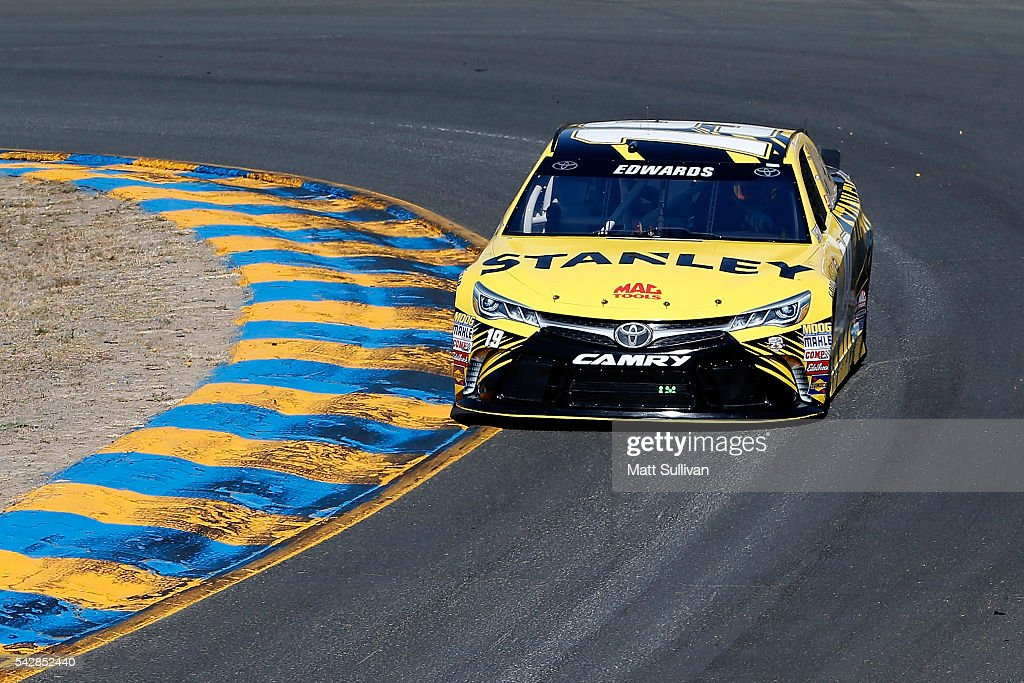 <a gi-track='captionPersonalityLinkClicked' href=/galleries/search?phrase=Carl+Edwards+-+Racecar+Driver&family=editorial&specificpeople=193803 ng-click='$event.stopPropagation()'>Carl Edwards</a>, driver of the #19 Stanley Toyota, practices for the NASCAR Sprint Cup Series Toyota/Save Mart 350 at Sonoma Raceway on June 24, 2016 in Sonoma, California.