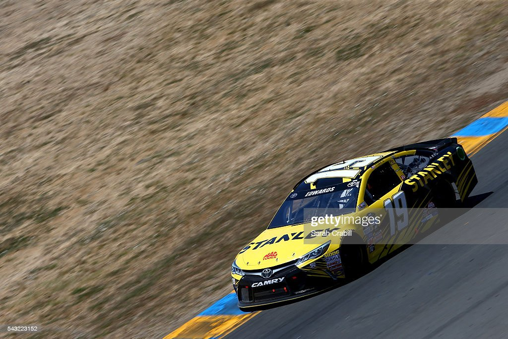 <a gi-track='captionPersonalityLinkClicked' href=/galleries/search?phrase=Carl+Edwards+-+Racecar+Driver&family=editorial&specificpeople=193803 ng-click='$event.stopPropagation()'>Carl Edwards</a>, driver of the #19 Stanley Toyota, races during the NASCAR Sprint Cup Series Toyota/Save Mart 350 at Sonoma Raceway on June 26, 2016 in Sonoma, California.