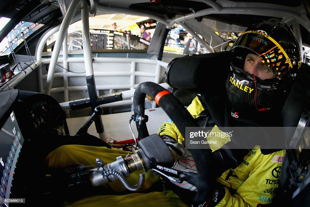 Carl Edwards, driver of the #19 Stanley Toyota, sits in his car during practice for the NASCAR Sprint Cup Series Can-Am 500 at Phoenix International Raceway on November 12, 2016 in Avondale, Arizona.