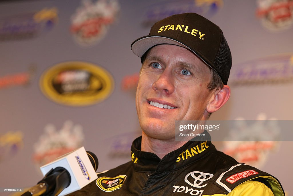 <a gi-track='captionPersonalityLinkClicked' href=/galleries/search?phrase=Carl+Edwards&family=editorial&specificpeople=193803 ng-click='$event.stopPropagation()'>Carl Edwards</a>, driver of the #19 Stanley Toyota, speaks to the media prior to practice for the NASCAR Sprint Cup Series Go Bowling 400 at Kansas Speedway on May 6, 2016 in Kansas City, Kansas.