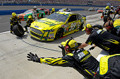 Carl Edwards driver of the Subway Ford pits during the NASCAR Sprint Cup Series Auto Club 400 at Auto Club Speedway on March 23 2014 in Fontana...