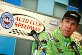 Carl Edwards driver of the Subway Toyota addresses the media during a press conference for the NASCAR Sprint Cup Series Auto Club 400 at Auto Club...