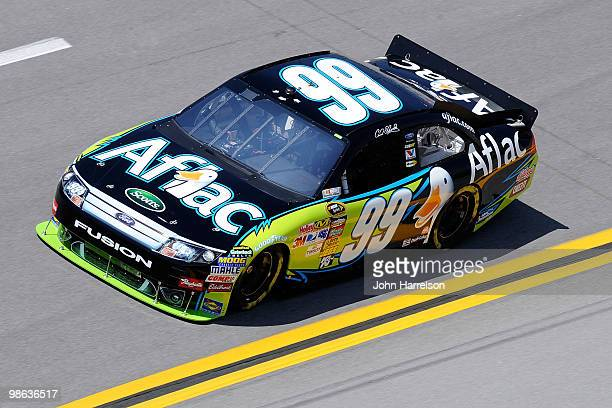 Carl Edwards drives the Aflac Ford during practice for the NASCAR Sprint Cup Series Aaron's 499 at Talladega Superspeedway on April 23 2010 in...