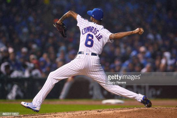 Carl Edwards Jr #6 of the Chicago Cubs pitches in the eighth inning during game four of the National League Division Series against the Washington...