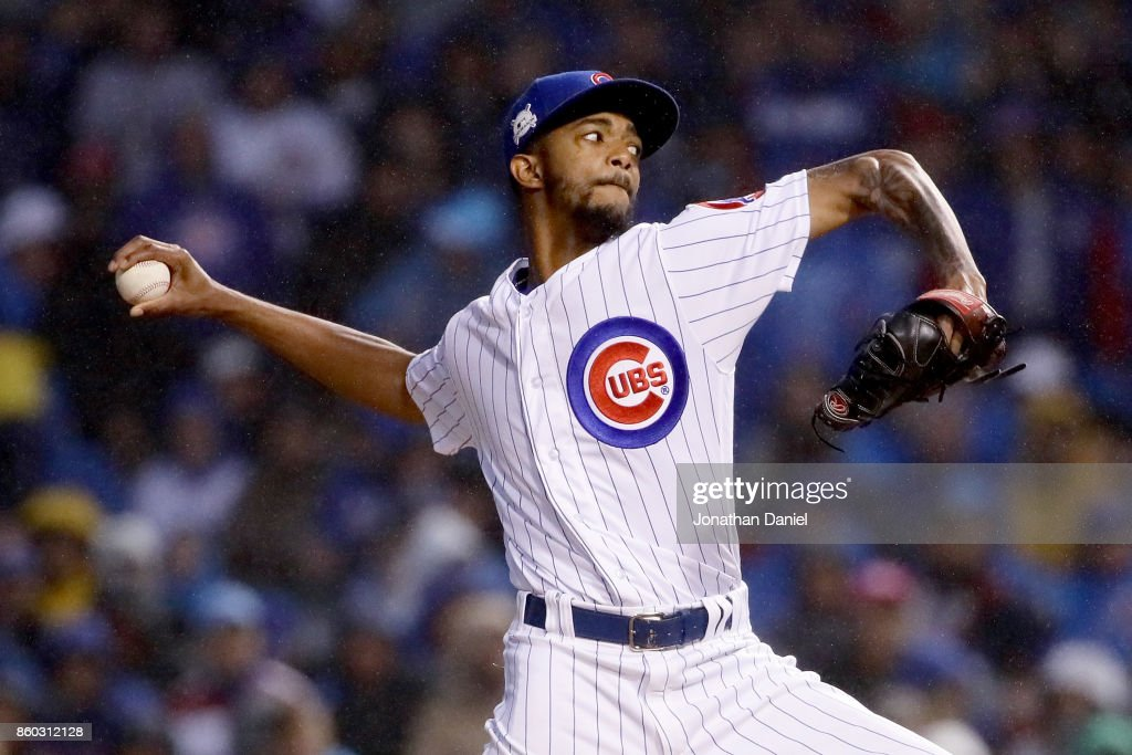 Carl Edwards Jr. #6 of the Chicago Cubs pitches in the eighth inning during game four of the National League Division Series against the Washington Nationals at Wrigley Field on October 11, 2017 in Chicago, Illinois.