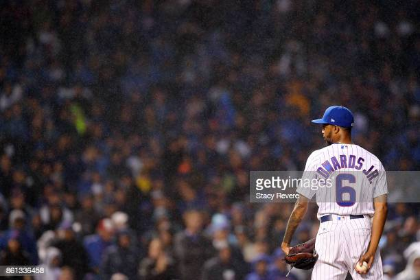 Carl Edwards Jr #6 of the Chicago Cubs prepares to throw a pitch during game four of the National League Division Series against the Washington...
