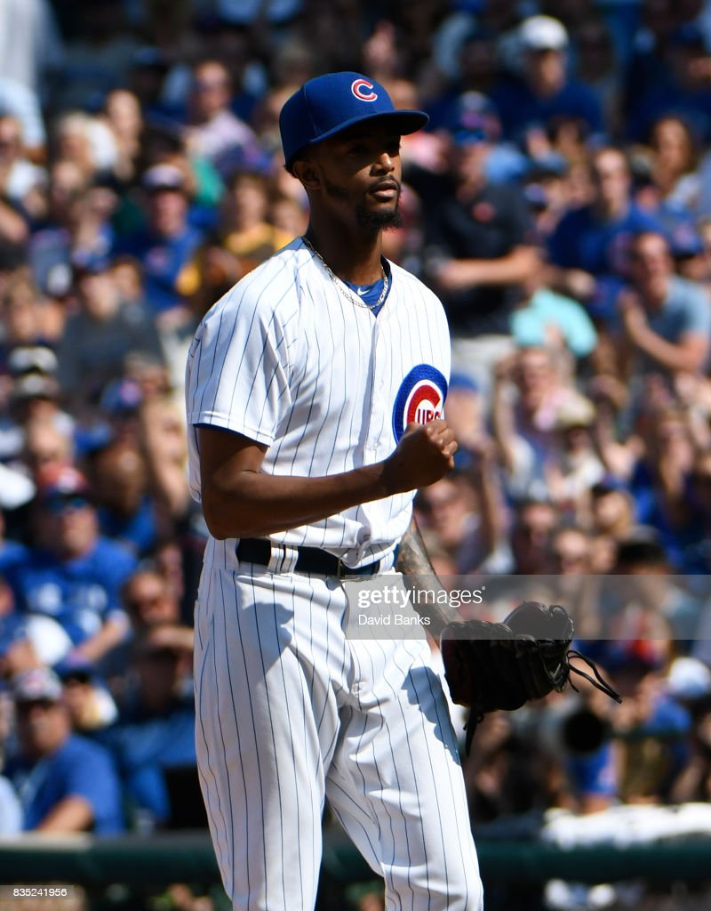 Carl Edwards Jr. #6 of the Chicago Cubs reacts after striking out Jose Bautista #19 of the Toronto Blue Jays during the seventh inning on August 18, 2017 at Wrigley Field in Chicago, Illinois.