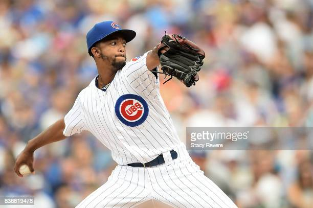 Carl Edwards Jr #6 of the Chicago Cubs throws a pitch during a game against the Toronto Blue Jays at Wrigley Field on August 20 2017 in Chicago...