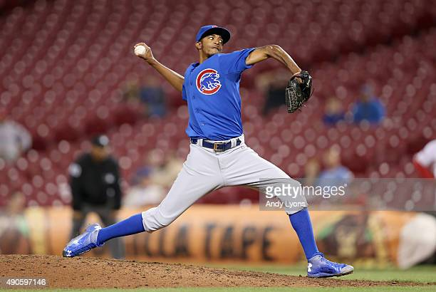 Carl Edwards Jr of the Chicago Cubs throws a pitch during the game against the Cincinnati Reds at Great American Ball Park on September 29 2015 in...