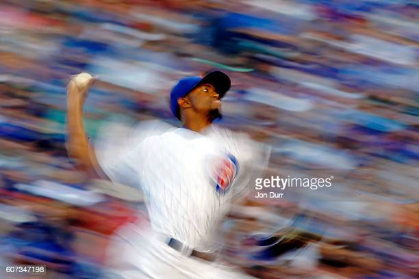Carl Edwards of the Chicago Cubs pitches against the Milwaukee Brewers during the eighth inning at Wrigley Field on September 17 2016 in Chicago...
