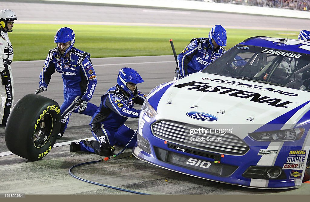 Carl Edwards' pit crew services his car during the Sprint Unlimited NASCAR Sprint Cup race at Daytona International Speedway on Saturday, February 16, 2013, in Daytona Beach, Florida.