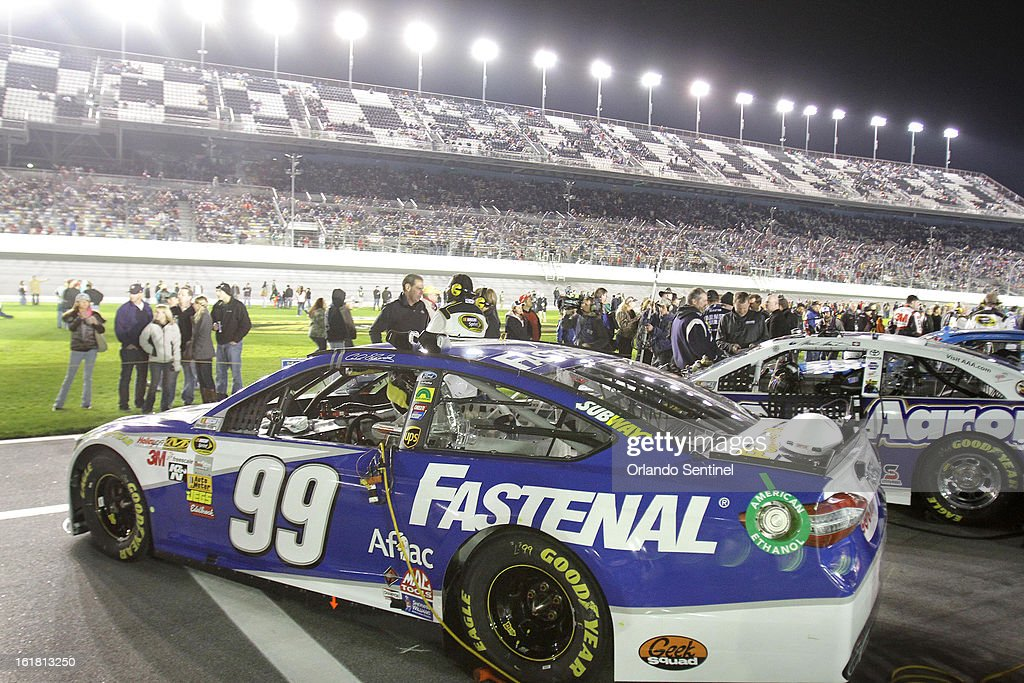 Carl Edwards' race car sits on pit road before the start of the Sprint Unlimited NASCAR Sprint Cup race at Daytona International Speedway on Saturday, February 16, 2013, in Daytona Beach, Florida.