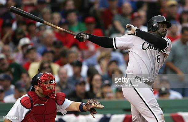 Carl Everett of the Chicago White Sox bats against the Boston Red Sox during Game Three of the American League Division Series at Fenway Park on...