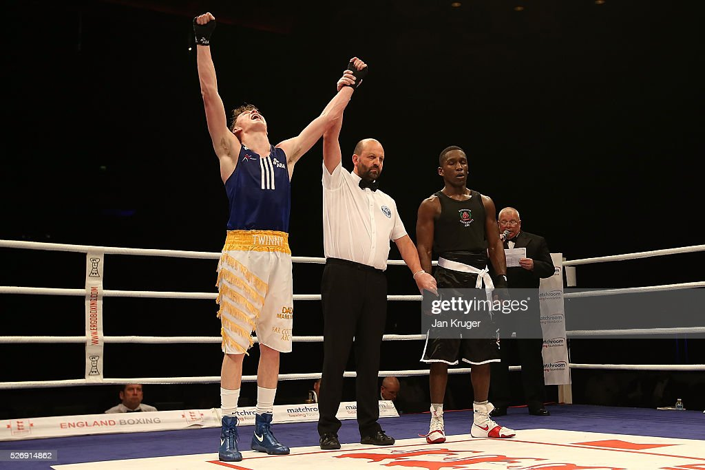 Carl Fail(L) celebrates a win over Ekow Essuman in their over 69kg final bout during day three of the Boxing Elite National Championships at Echo Arena on May 01, 2016 in Liverpool, England.