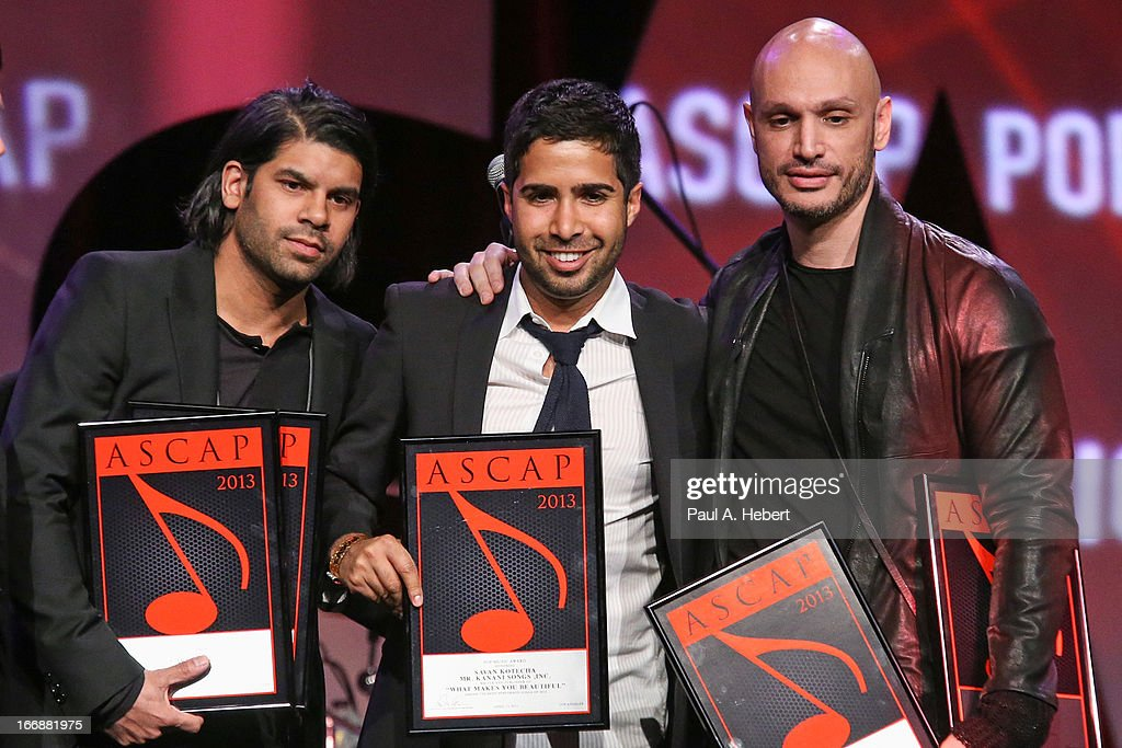 Carl Falk, Savan Kotecha and Rami receive an award on stage during the 30th Annual ASCAP Pop Music Awards at Loews Hollywood Hotel on April 17, 2013 in Hollywood, California.
