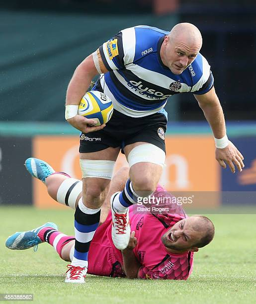 Carl Fearns of Bath runs with the ball during the Aviva Premiership match between Bath and London Welsh at the Recreation Ground on September 13 2014...
