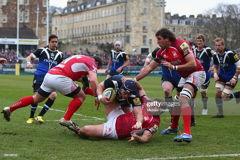 <a gi-track='captionPersonalityLinkClicked' href=/galleries/search?phrase=Carl+Fearns&family=editorial&specificpeople=4212511 ng-click='$event.stopPropagation()'>Carl Fearns</a> of Bath scores his sides second try during the Aviva Premiership match between Bath and London Welsh at the Recreation Ground on March 30, 2013 in Bath, England.