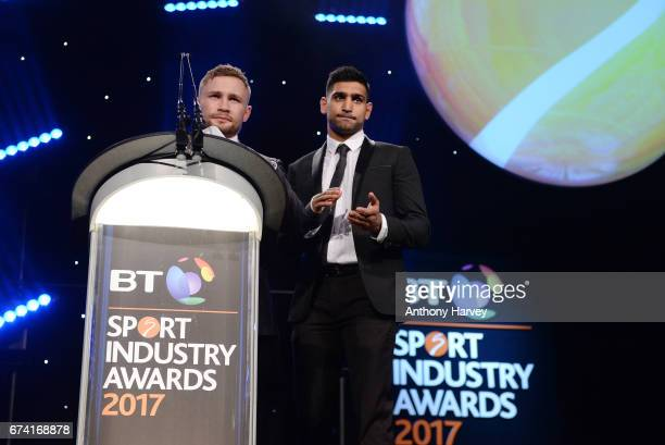 Carl Frampton and Amir Khan present the Team or Individual Sponsorship of the Year award during the BT Sport Industry Awards 2017 at Battersea...