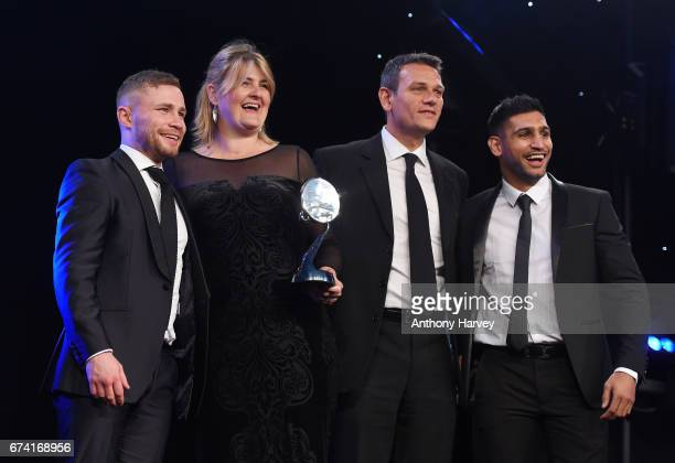 Carl Frampton and Amir Khan present the Team or Individual Sponsorship of the Year award to Land Rover BAR Above Beyond during the BT Sport Industry...