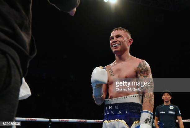 Carl Frampton celebrates after his victory over Horacio Garcia after their International Featherweight bout on the Frampton Reborn boxing bill at SSE...