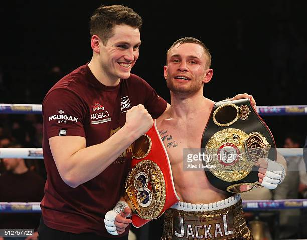 Carl Frampton celebrates with trainer Shane McGuigan after a points victory over Scott Quigg after the World SuperBantamweight title contest at...