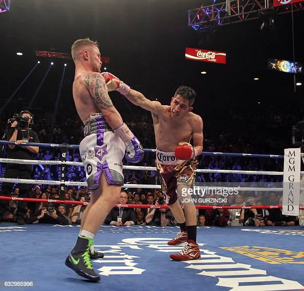 Carl Frampton IRE and Leo Santa Cruz USA fight for WBC Super Featherweight title at the MGM Grand Arena in Las Vegas on January 28 2017 Santa Cruz...