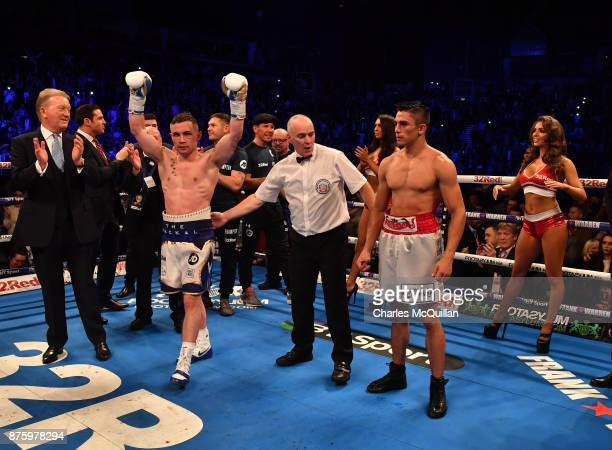 Carl Frampton is declared winner over Horacio Garcia after their International Featherweight bout on the Frampton Reborn boxing bill at SSE Arena...