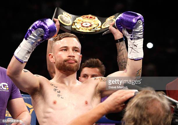 Carl Frampton is introduced at the start of his WBA featherweight title fight against Leo Santa Cruz at MGM Grand Garden Arena on January 28 2017 in...
