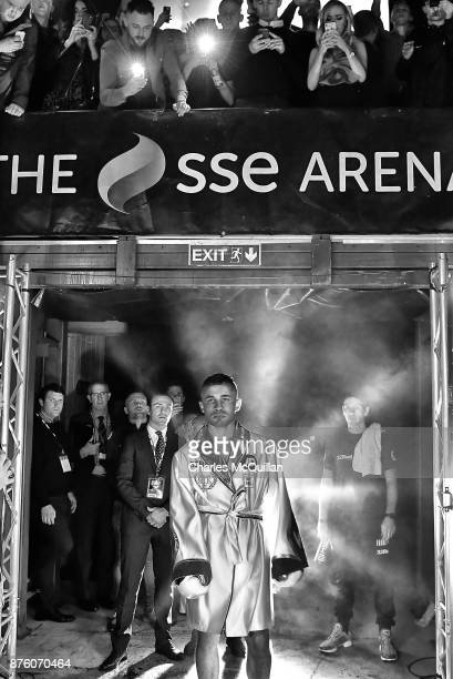 Carl Frampton makes his way in to the ring to face Horacio Garcia for their International Featherweight bout on the Frampton Reborn boxing bill at...