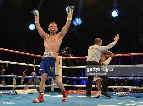 Carl Frampton of Northern Ireland celebrates after his victory over Chris Avalos of USA for the IBF Super Bantamweight World Title at Odyssey Arena...