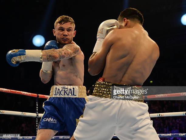 Carl Frampton of Northern Ireland versus Chris Avalos of USA for the IBF Super Bantamweight World Title at Odyssey Arena on February 28 2015 in...