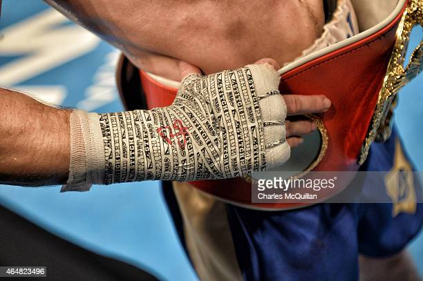 Carl Frampton of Northern Ireland's taped fist after his victory over Chris Avalos of USA for the IBF Super Bantamweight World Title at Odyssey Arena...