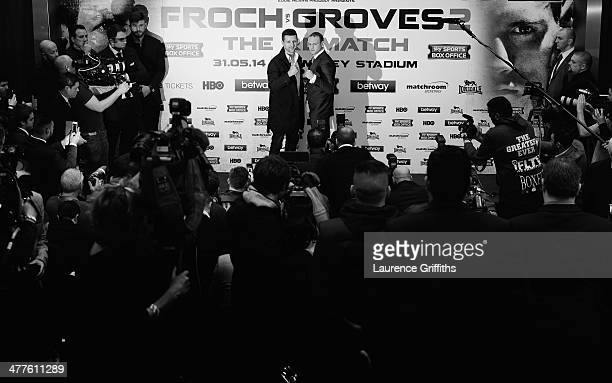 Carl Froch and George Groves go head to head during a Press Conference at Wembley Stadium on March 10 2014 in London England
