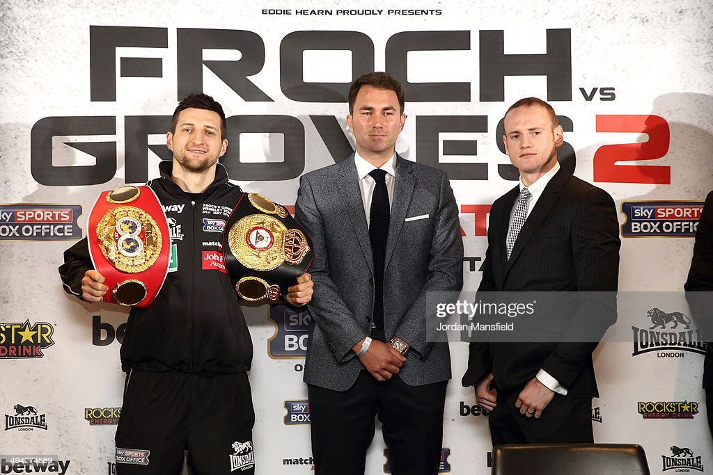 <a gi-track='captionPersonalityLinkClicked' href=/galleries/search?phrase=Carl+Froch&family=editorial&specificpeople=241345 ng-click='$event.stopPropagation()'>Carl Froch</a> and <a gi-track='captionPersonalityLinkClicked' href=/galleries/search?phrase=George+Groves&family=editorial&specificpeople=4006710 ng-click='$event.stopPropagation()'>George Groves</a> go head to head during a press conference to announce the upcoming WBA & IBF Super Middleweight World Championship fight between <a gi-track='captionPersonalityLinkClicked' href=/galleries/search?phrase=Carl+Froch&family=editorial&specificpeople=241345 ng-click='$event.stopPropagation()'>Carl Froch</a> and <a gi-track='captionPersonalityLinkClicked' href=/galleries/search?phrase=George+Groves&family=editorial&specificpeople=4006710 ng-click='$event.stopPropagation()'>George Groves</a> at Wembley Stadium on May 29, 2014 in London, England.