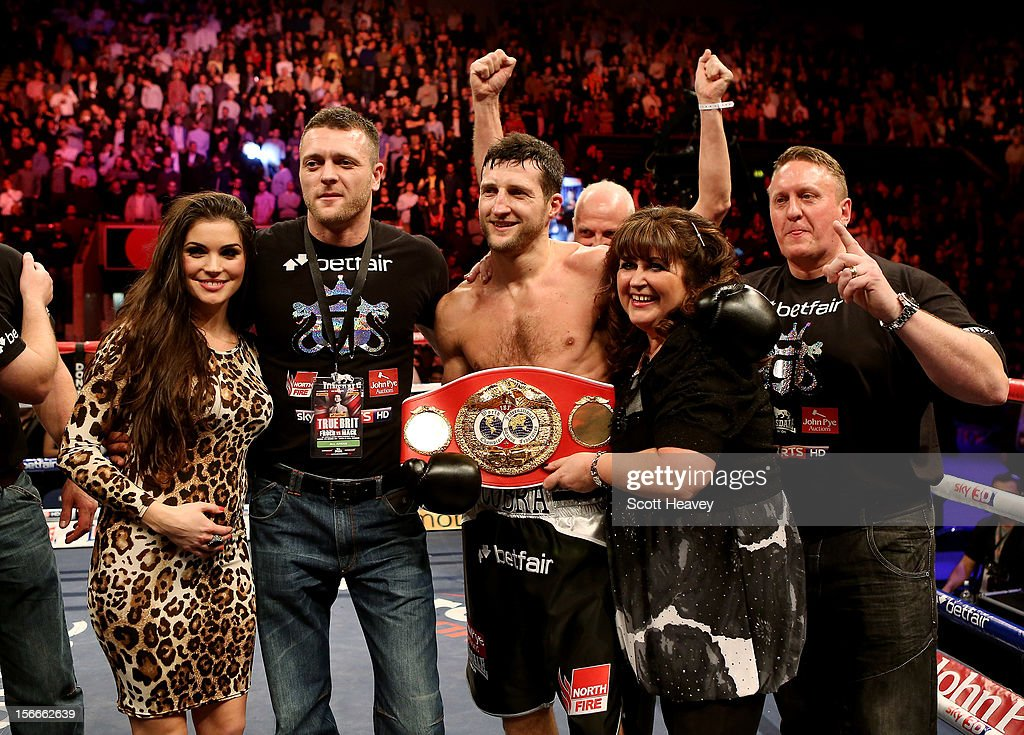 <a gi-track='captionPersonalityLinkClicked' href=/galleries/search?phrase=Carl+Froch&family=editorial&specificpeople=241345 ng-click='$event.stopPropagation()'>Carl Froch</a> celebrates after beating Yusaf Mack during their IBF World Super Middleweight Title Fight at Nottingham Capital FM Arena on November 17, 2012 in Nottingham, England.