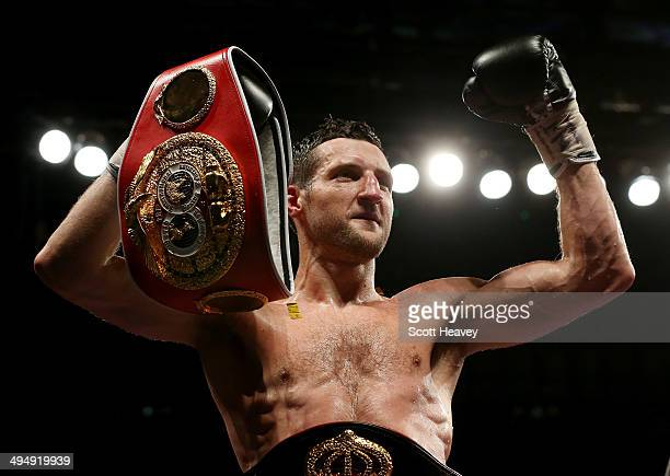 Carl Froch celebrates after his victory over Geroge Groves during their IBF and WBA World Super Middleweight bout at Wembley Stadium on May 31 2014...