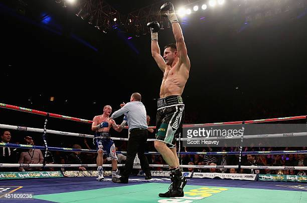 Carl Froch celebrates his victory over George Groves during their IBF and WBA World Super Middleweight bout at Phones4u Arena on November 23 2013 in...