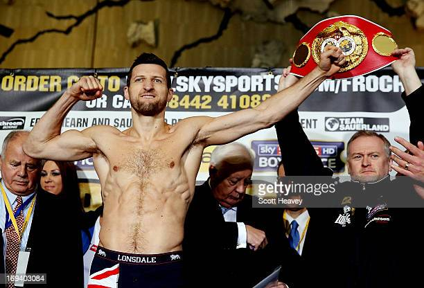 Carl Froch during the weighin for his IBF Super Middleweight bout with Mikkel Kessler at the O2 Arena on May 24 2013 in London England