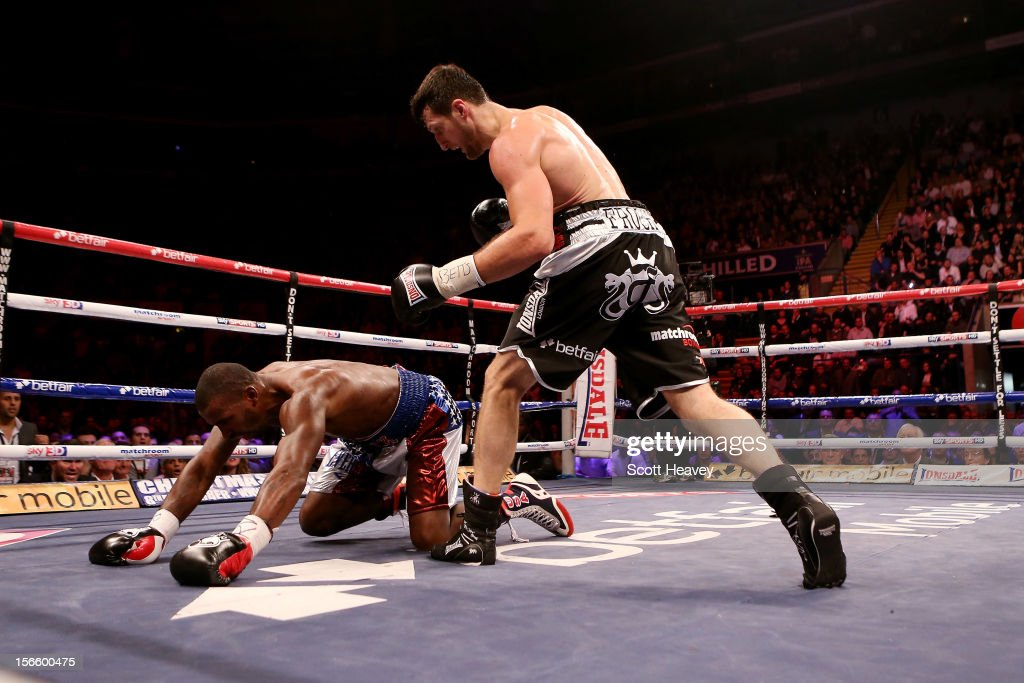 <a gi-track='captionPersonalityLinkClicked' href=/galleries/search?phrase=Carl+Froch&family=editorial&specificpeople=241345 ng-click='$event.stopPropagation()'>Carl Froch</a> knocks down Yusaf Mack during their IBF World Super Middleweight Title Fight at Nottingham Capital FM Arena on November 17, 2012 in Nottingham, England.