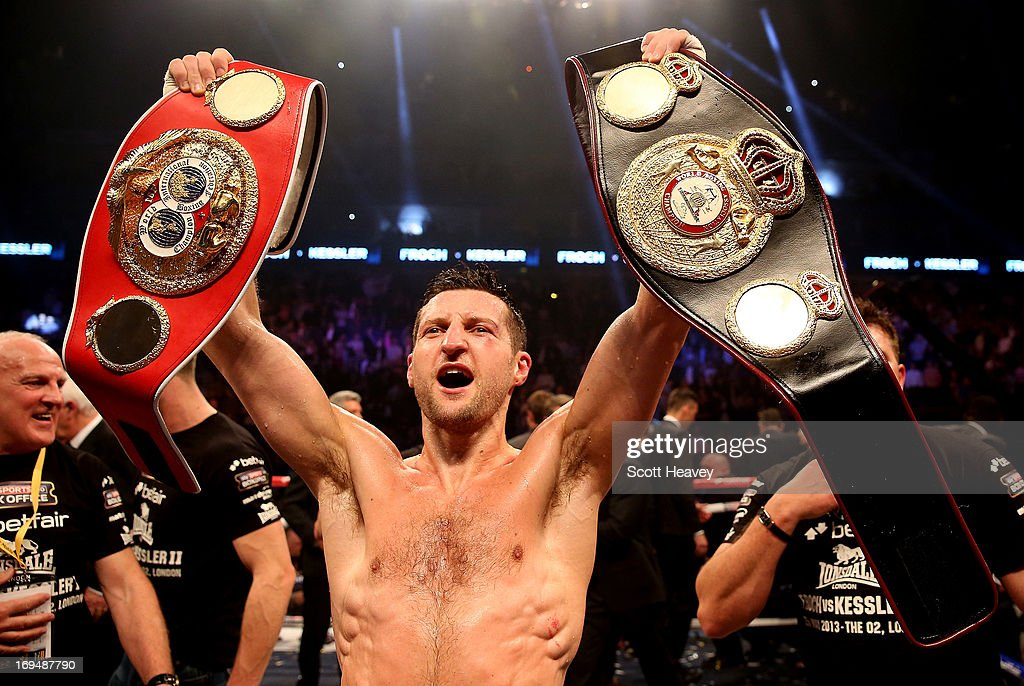 <a gi-track='captionPersonalityLinkClicked' href=/galleries/search?phrase=Carl+Froch&family=editorial&specificpeople=241345 ng-click='$event.stopPropagation()'>Carl Froch</a> of England celebrates his victory over <a gi-track='captionPersonalityLinkClicked' href=/galleries/search?phrase=Mikkel+Kessler&family=editorial&specificpeople=628966 ng-click='$event.stopPropagation()'>Mikkel Kessler</a> of Denmark during their Super Middleweight Unification bout at the O2 Arena on May 25, 2013 in London, England.