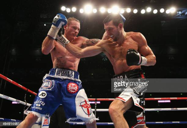 Carl Froch of England in action against George Groves of England during their IBF and WBA World Super Middleweight title fight at Wembley Stadium on...
