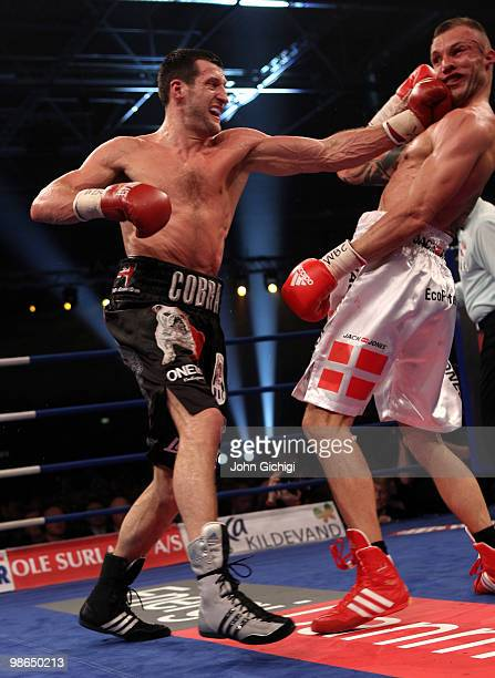Carl Froch of England lands a left hook on Mikkel Kessler of Denmark during their Super Six WBC Super Middleweight title fight on April 24 2010 at...